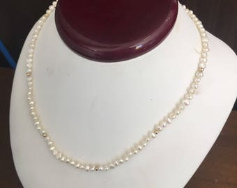 Genuine Fresh Water Pearl and Gold Bead Necklace