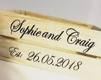 Personalised Wedding Crates, Wedding Box, Wedding card holder, wedding gift box, wedding decoration, wedding keepsake box, wedding box