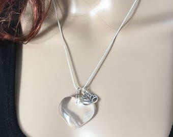 Natural Clear Quartz Heart Pendant