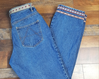 Vintage High waisted 1980s Mountain Lake jeans/ Bohemian/Size 12 Medium/Large