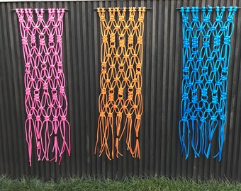 Three rope Macrame Wall hangings with Copper Fittings