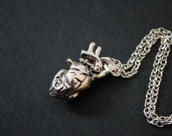 3D anatomical heart necklace