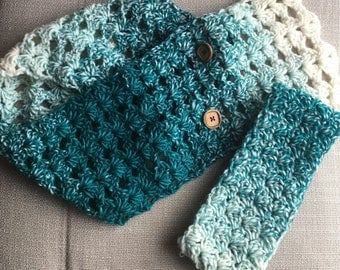 Cowl, scarf and ear warmer set, teal and white, gift for her