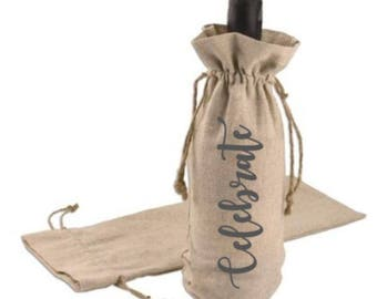 Jute Wine Bag - Wine Bottle Holder - Gift