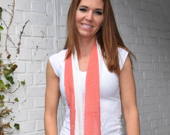 Peaches & Cream Straight Scarf with Peach and White Polka Dots