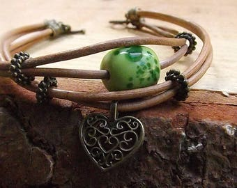 Leather Wrap bracelet, green and bronze