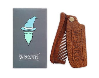 Beard Comb, Sandalwood Folding Beard, Moustache & Hair Comb, the perfect Pocket Sized Gift