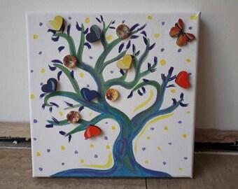 Love tree painting on canvas
