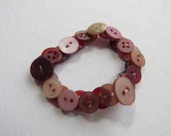 Burgundy/mauve upcycled button bracelet
