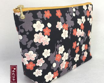 Cosmetic Pouch Japanese style fabrics Ume Blossom Black Makeup Bags - Free Shipping!!