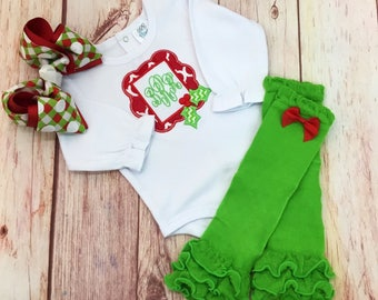 Christmas Baby Outfit, Mistletoe Baby Outfit, Baby Girl Christmas Outfit, newborn christmas outfit, baby christbas outfit, baby girl, xmas