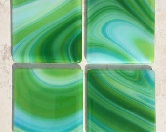 Green Swirl Fused Glass Coasters (set of 4)