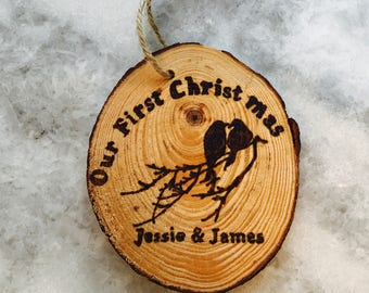 Custom Wood Burned Our First Christmas Ornament