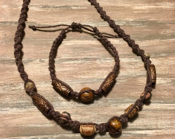 Boho macrame brown hemp necklace and bracelet set wooden beads