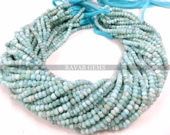 """1 Strand Excellent AAA++  Quality Natural Larimar Faceted Gemstone Rondelle Beads, Super Natural Gemstone Faceted Rondelles, 13""""Inch 3mm-4mm"""