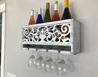 Introductory Sale, French Farmhouse Shabby Chic Wine Rack.