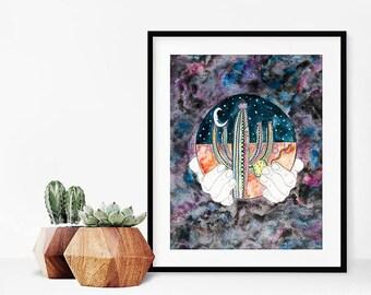 Cacti Painting/Desert Print/Cactus Print/Watercolor Cacti/Saguaro Cactus Print/Desert Wall Decor/Southwest Decor/Arizona Artwork