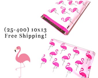 "FREE SHIPPING! (25-400 Pack) 10x13"" Pink Flamingo Designer Poly Mailers"