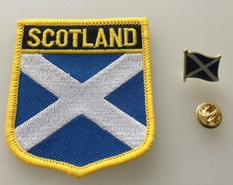 Scotland Shield Country Flag Embroidered Patch and Pin Badge Set