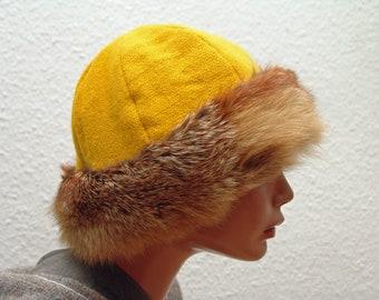 CAP, Middle Ages, Viking, RUS, fur fox Genuine, Gr. 57, wool plants dyed, linen