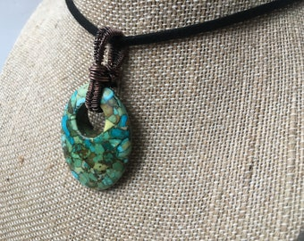 Turquoise Pendant, Crystal Pendant, Crystal Jewelry, Wire Wrapped Pendant, Wire Wrapped Jewelry, Turquoise Jewelry, Turquoise Necklace