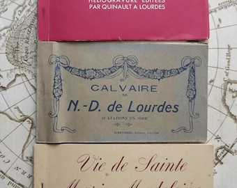 Set of 3 Postcards Albums of Lourdes and the Life of Holy Mary - Vintage Ancient Religious Postcards
