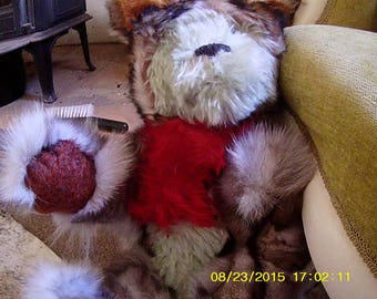 Raffles (mohair and genuine fur soft sculpture wolf)