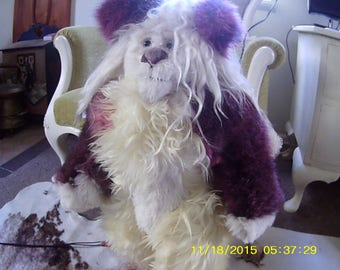 Tippi (winged cloven hoofed goat bear), white and wild-berry colored collectible artist bear (ALSO FREE STANDING)