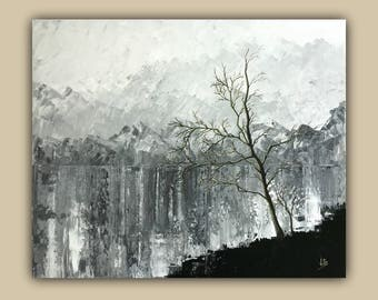 Mountains and a Tree Abstract Acrylic Painting