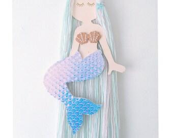 Mermaid hair bow holder, Mermaid bow holder, Aqua mermaid hair clip holder, hair bow storage, hair clip hanger, mermaid theme, ocean theme