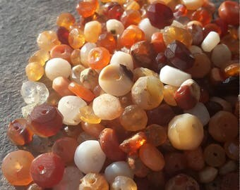 Beautiful Mexican fire Opal rondelle beads, approx 3-5 mm, 60ct natural gemstone parcel. Good quality beads, great for making a  Bracelet.
