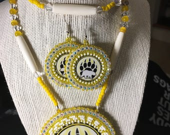 Yellow Bear Claw Necklace Set