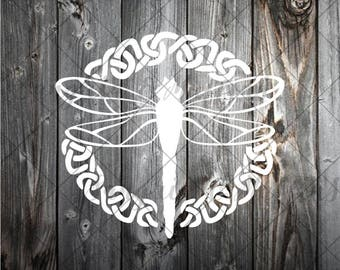 Dragonfly with celtic knot - car, window, laptop, tablet decal - celtic knot decal, dragonfly decal, dragon fly