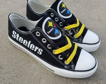 Pittsburgh Steelers shoes Steelers sneakers Steelers tennis shoes Holiday gifts Damaged font Custom shoes