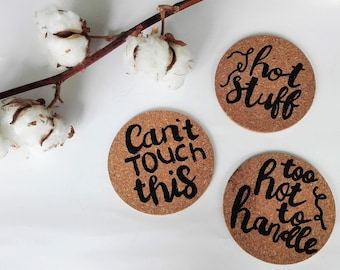 Cork coasters | set of 3 with quotes