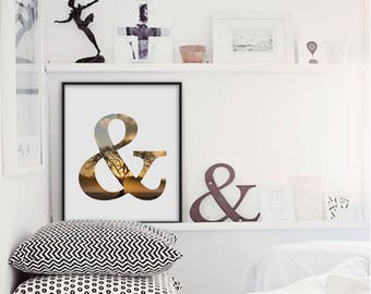 Ampersand Print, And Sign, Home Decor Wall Art, Ampersand Poster, And Symbol, Typography Sign, Wall Art