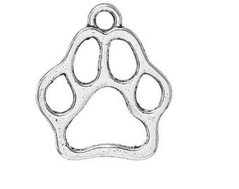 set of 10 silver bear cat (C64) dog paw print charms