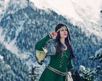 Roleplay medieval warm elves cosplay dress made to order