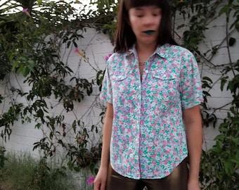 Vintage 80s Floral S/S Button Down