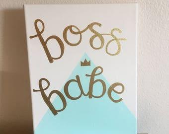 Boss Babe Canvas Wall Art // inspirational wall art // boss babe // girl boss // dorm decor // office decor // workspace decor