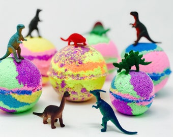 Sale! 3 or 5 Dinosaur Egg 7.0 oz Inspired Bath Bomb Party Favor Set with Surprise Toy Figures