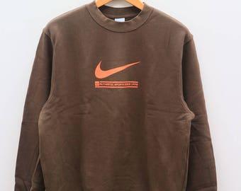 Vintage NIKE Authentic Sportswear Big Logo Brown Sweater Sweatshirt Size XL