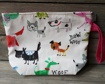 Bow Wow fabric project bag