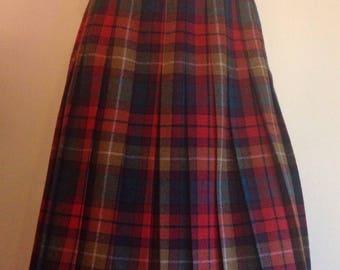 Plaid lightweight vintage wool pleated skirt bright colors