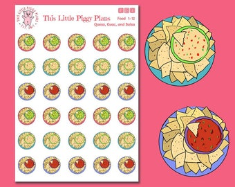 Chips and Salsa Planner Stickers - Guacamole - Queso - Planner Stickers - Chips and Dip - Snack Time - Eat - Food Icons - [Food 1-12]