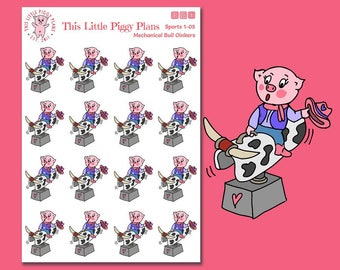 Mechanical Bull Riding Planner Stickers - Bull Riding Stickers - Bull Stickers - Girls' Night Out Planner Stickers - Rodeo - [Sports 1-05]