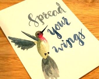 Hummingbird- Spread your wings - 5x7