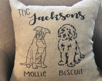 Personalized Dog Pillow- Custom Dog Pillow, Goldendoodle Pillow, Dog Family Pillow, Custom Pillow, Personalized Pillow.