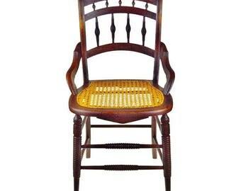 Victorian Cane Seat Arm Chair