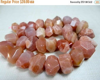 53% off Weekend Sale... Pink/Peach moonstone faceted center drilled nuggets /16x12-18x13mm/7 inch strand